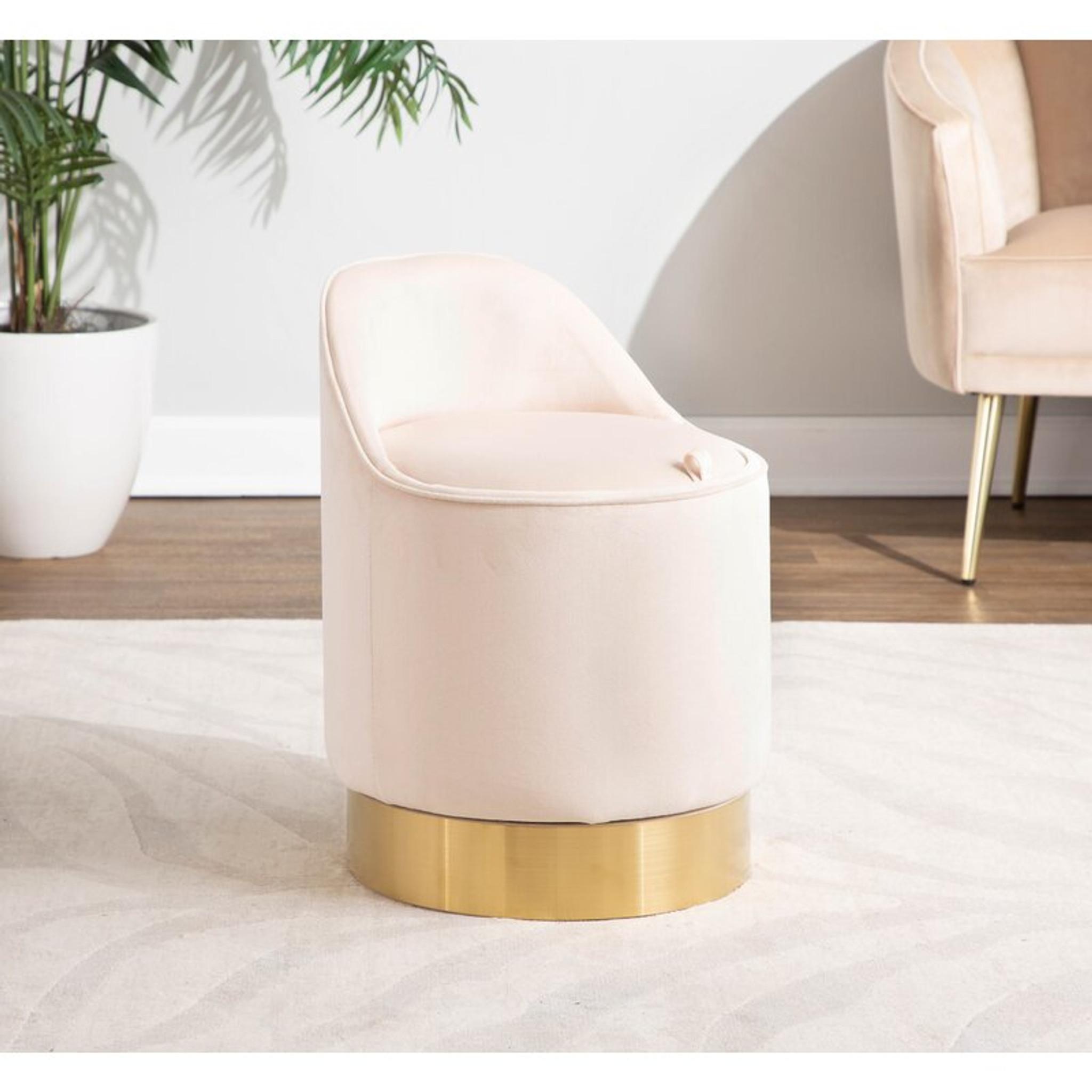 Art Deco Cream Velvet Low Back Vanity Chair with Metal Base