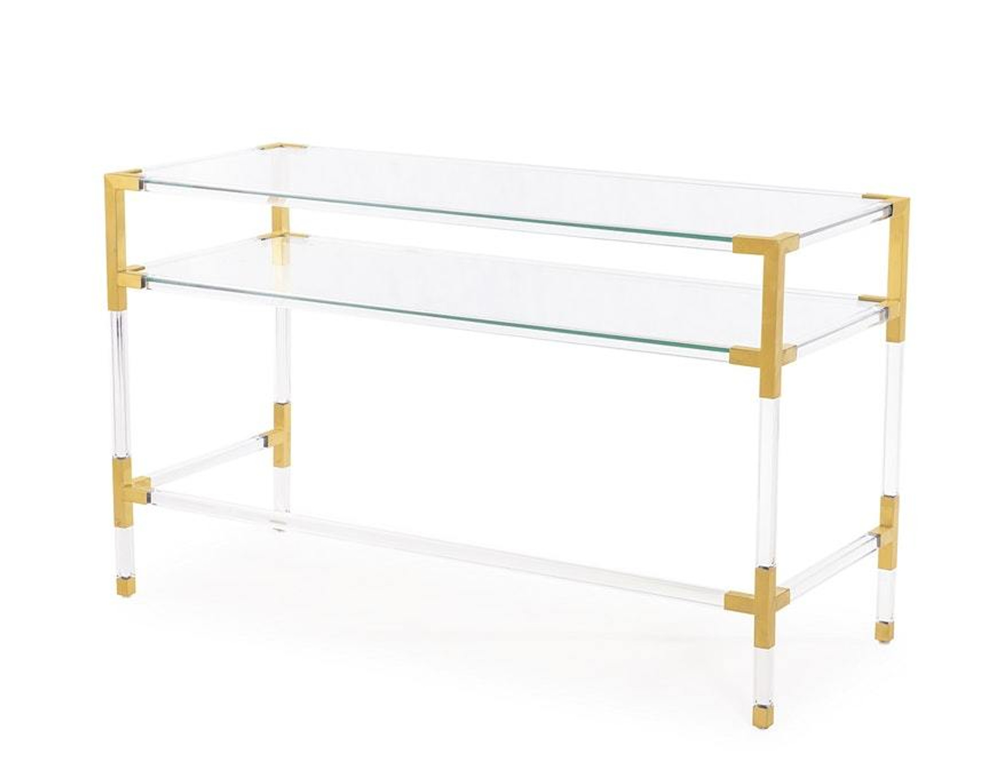 Picture of: Acrylic 2 Tier Console Table With Brass Corners Clear Home Design