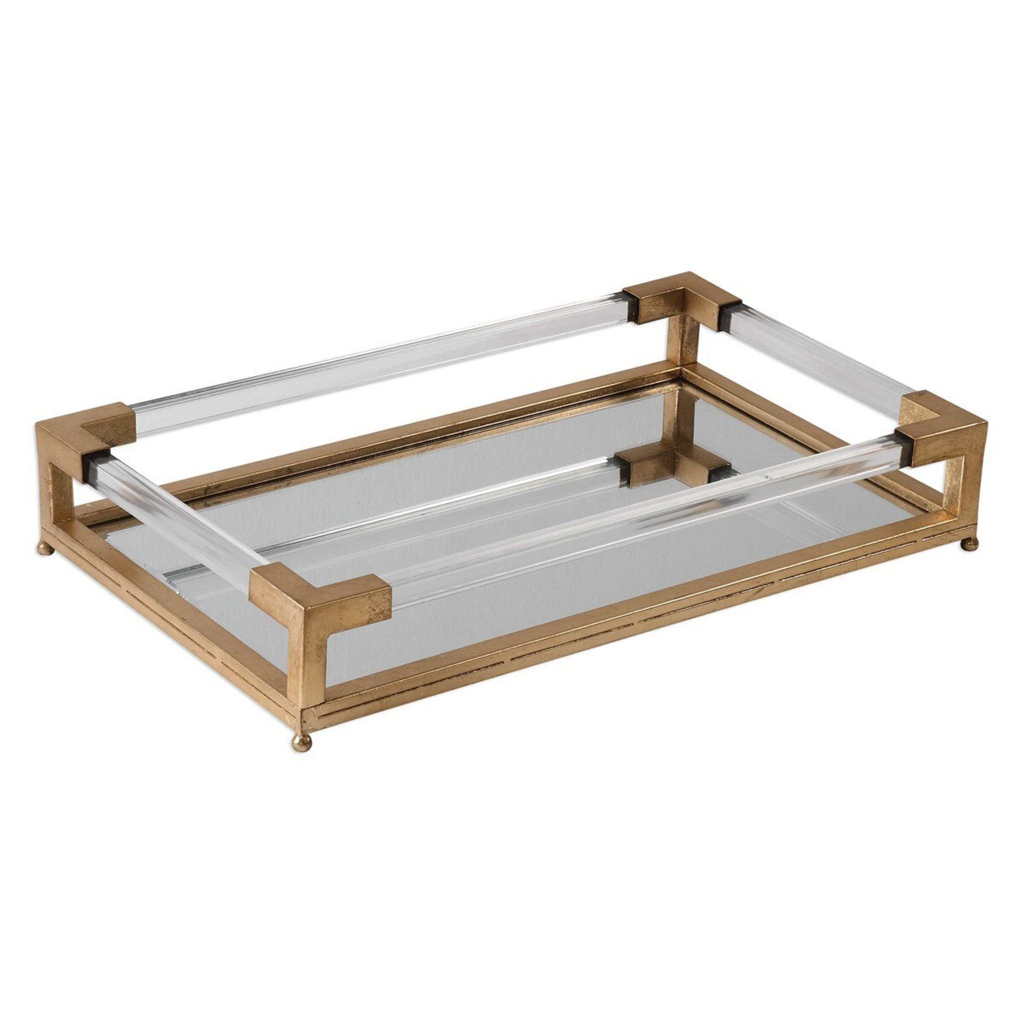 gold rectangular mirrored acrylic serving platter decorative tray uttermost balkan