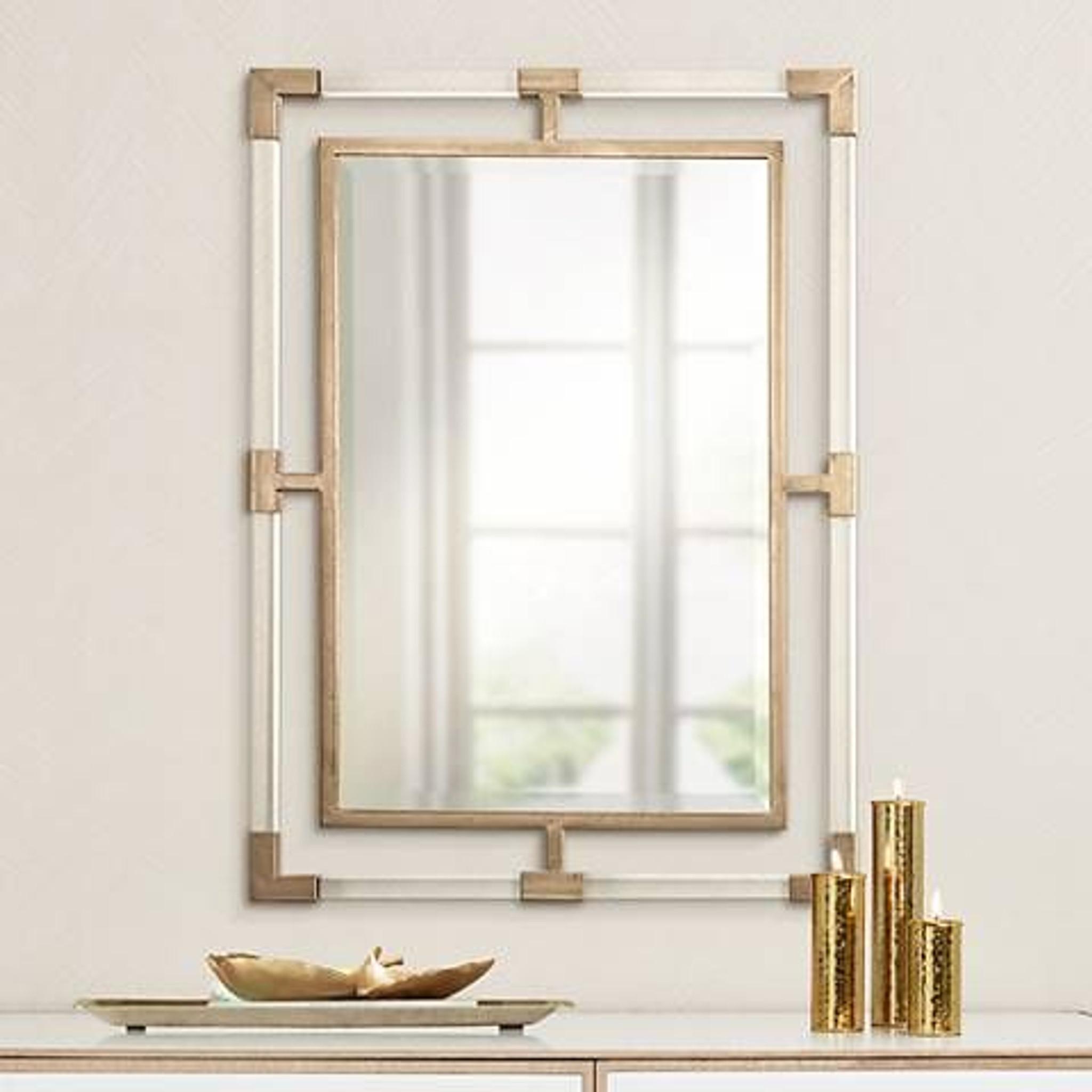 uttermost Balkan Mirror gold acrylic brass accents lucite rectangular modern glam