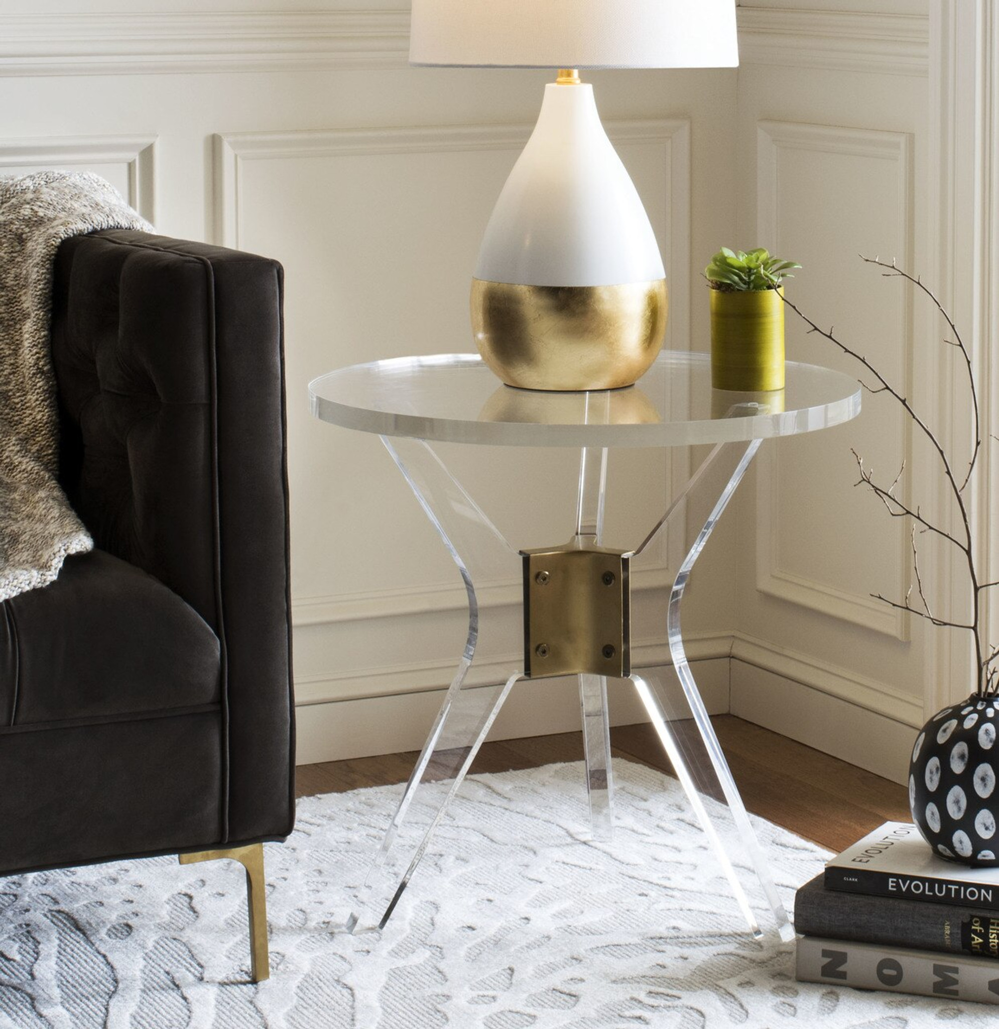 clear round side table in clear acrylic lucite with x clear base safavieh werner end table