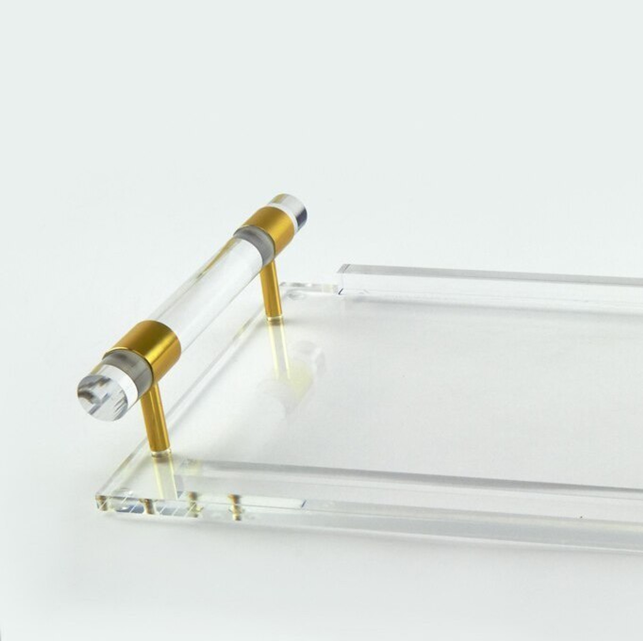 clear lucite acrylic large decorative serving tray with clear handles