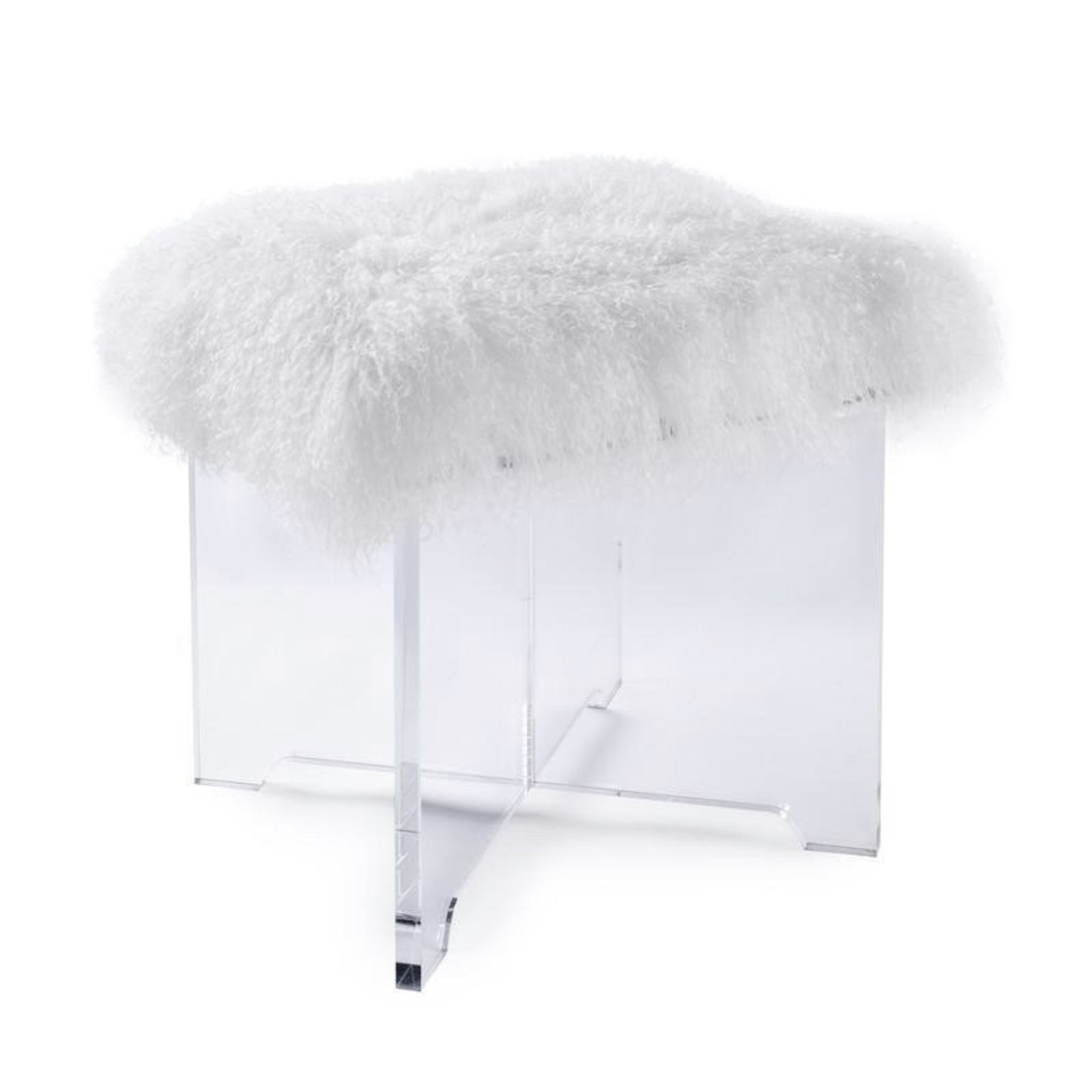 white furry clear x base Mongolian fur ottoman stool lucite clear acrylic pasargad firenze
