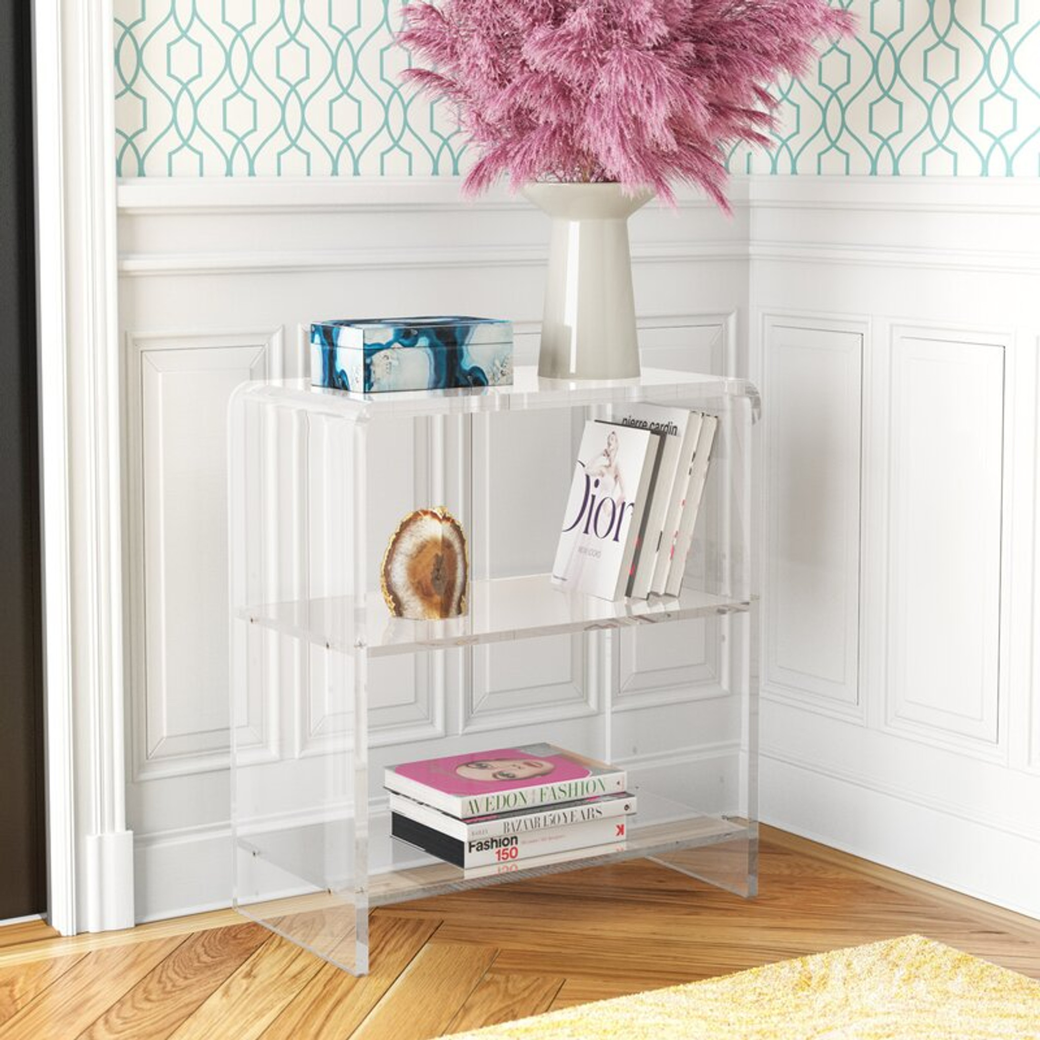 butler specialty crystal clear acrylic bookcase small short clear lucite plastic