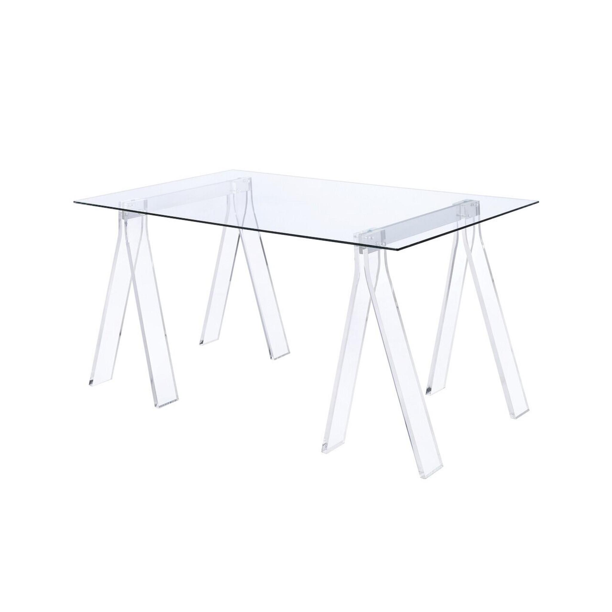 lucite plexiglass acrylic computer desk with clear sawhorse legs coaster furniture