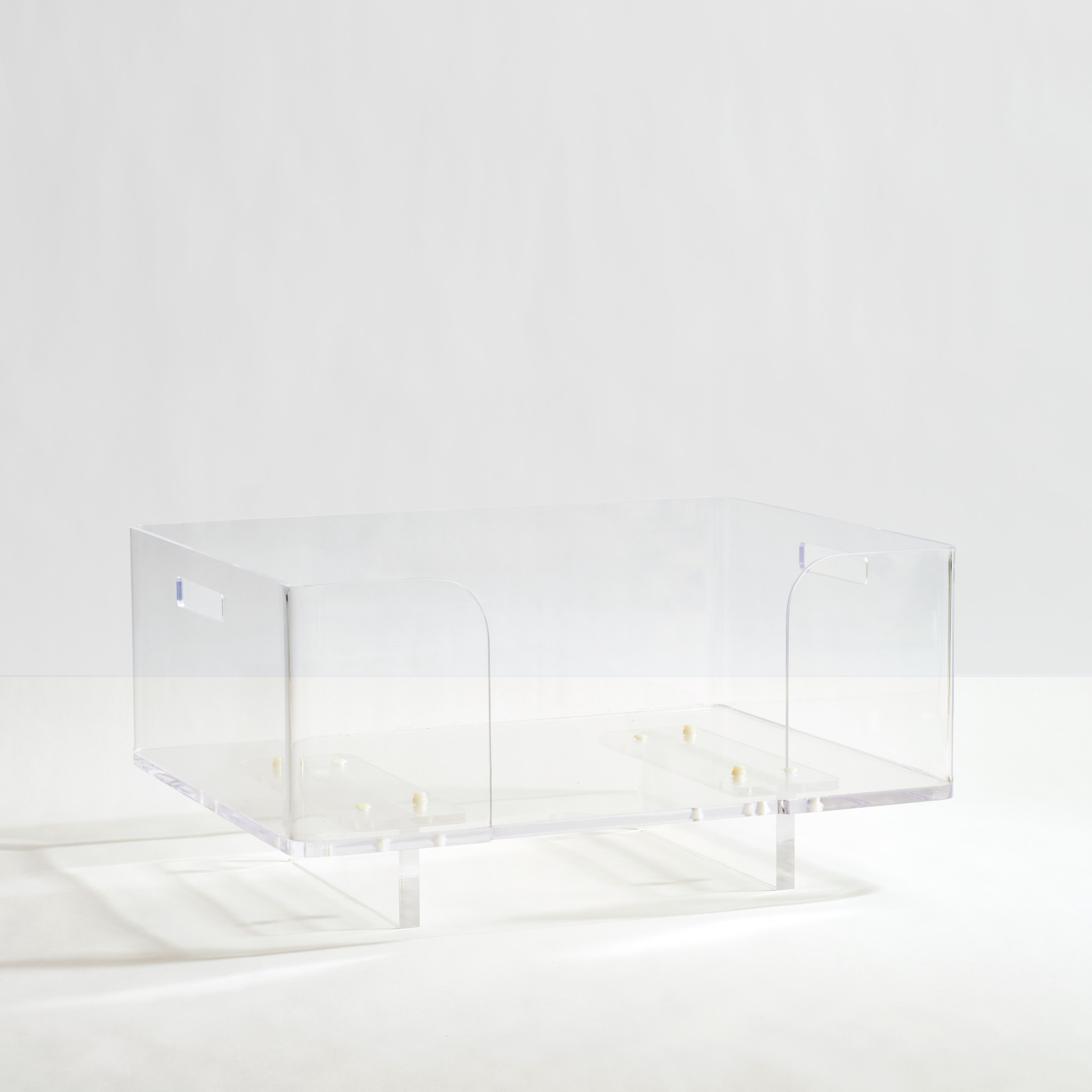 Clear Acrylic lucite raised elevated modern Dog Bed by Hiddin