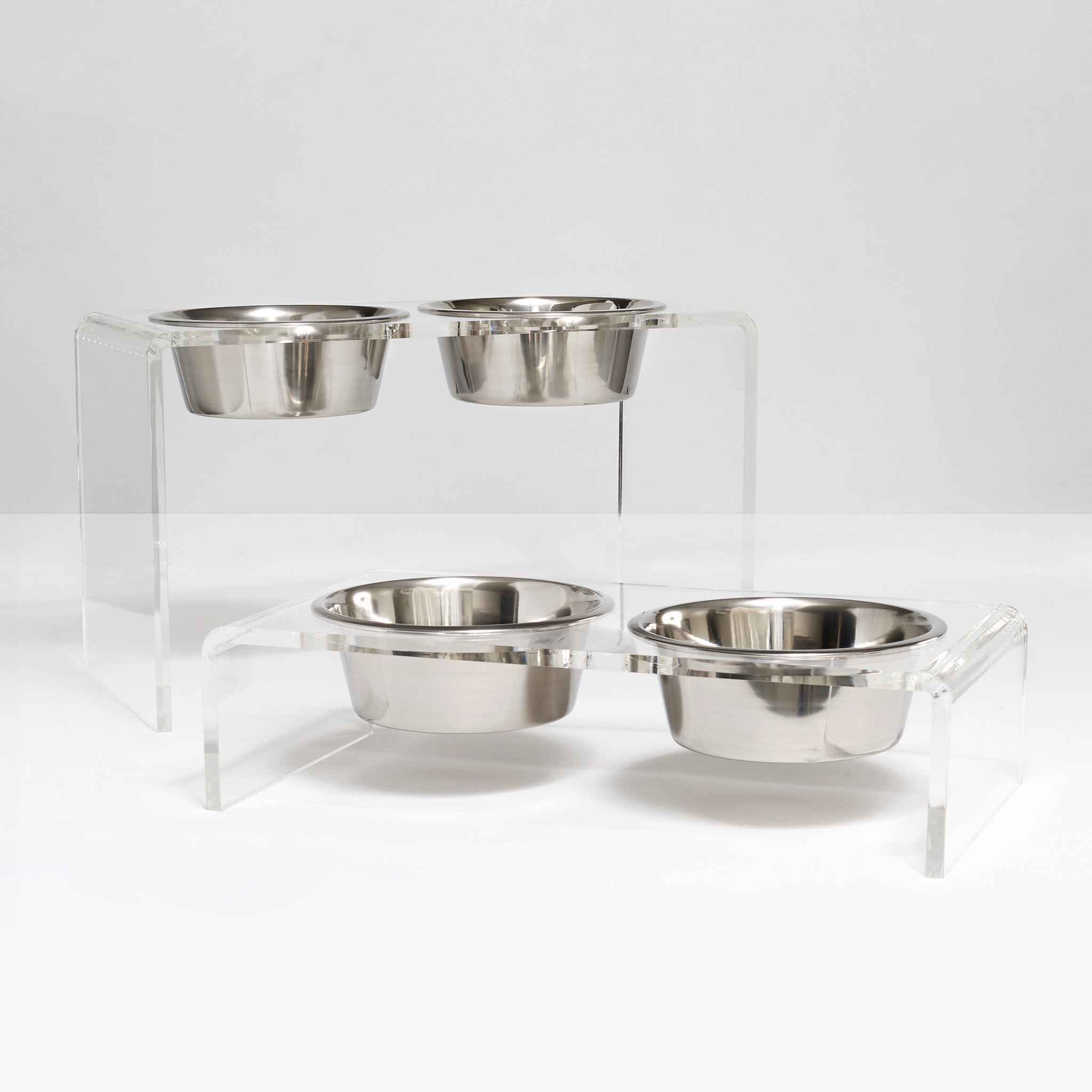 clear acrylic dog bowl stand modern simple clear lucite chic Petco pet feeder clearhomedesign.com dish appear cheap
