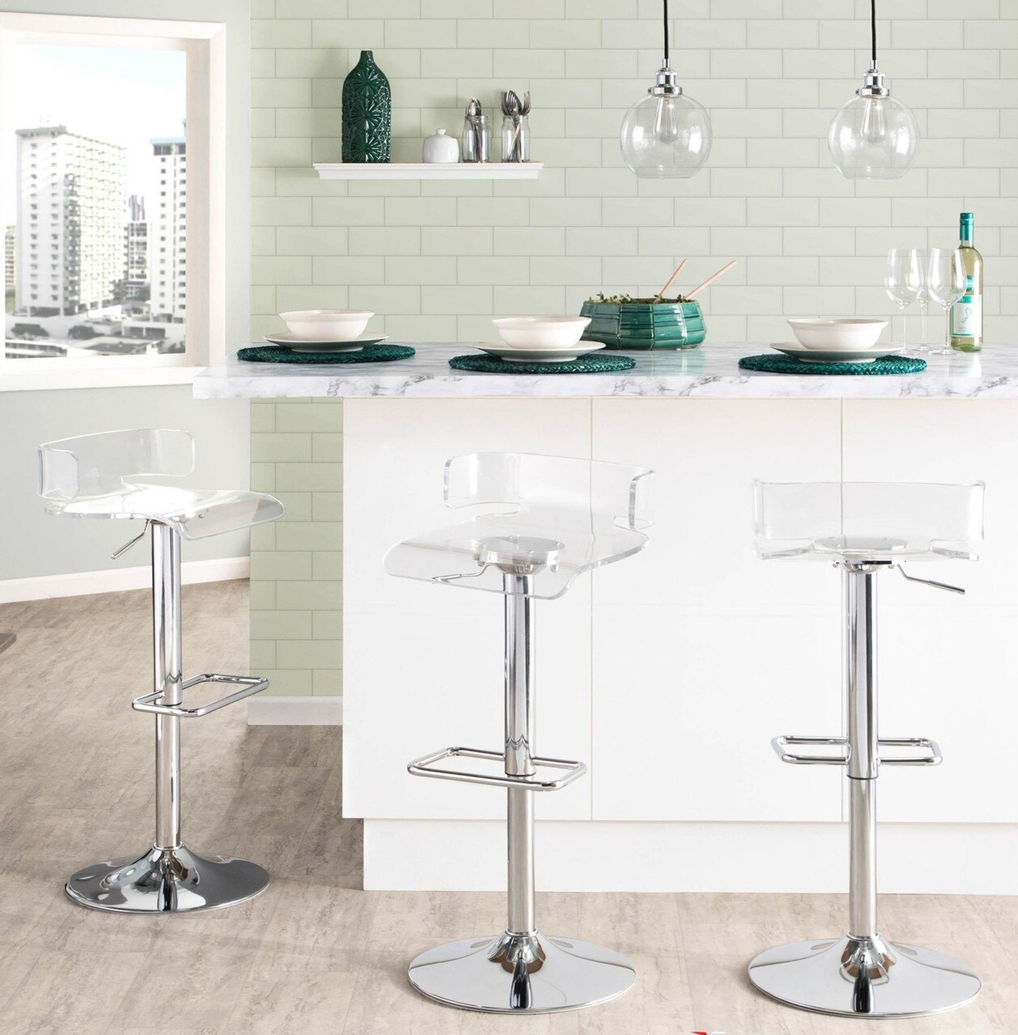 lumisource pride cheap acrylic counter stool in clear plastic with swivel adjustable height footrest