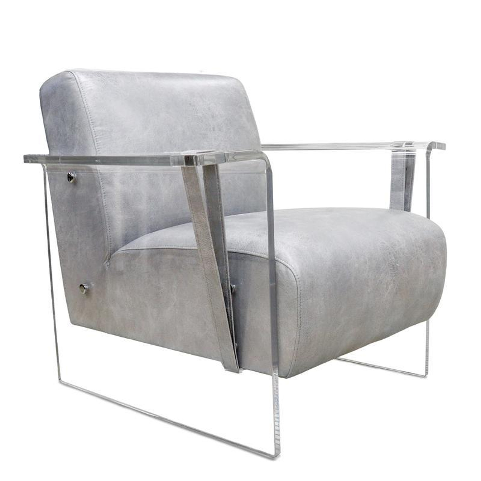 contemporary clear acrylic armchair in dark grey leather with lucite frame and legs