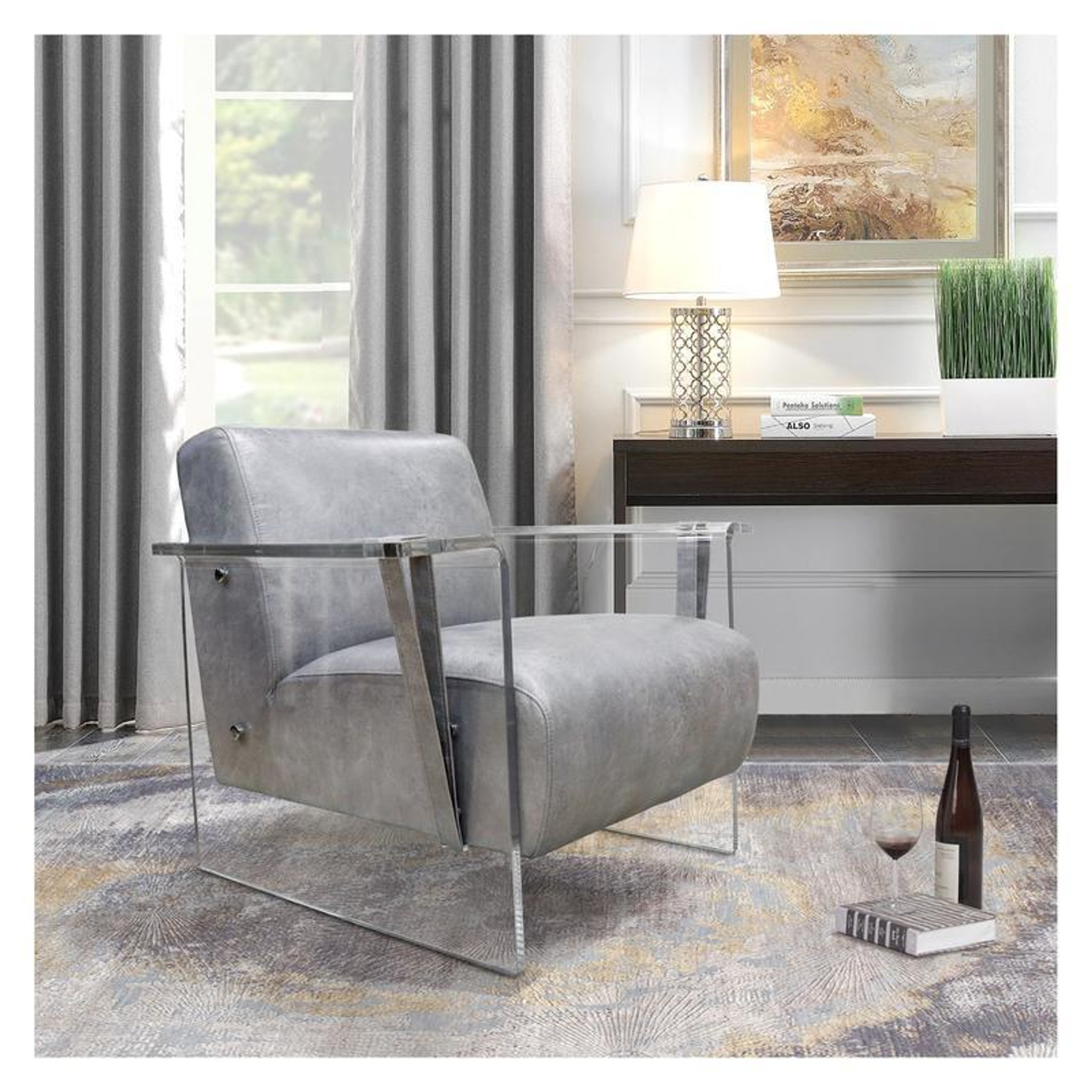 acrylic accent chair in grey for modern clear living room decor