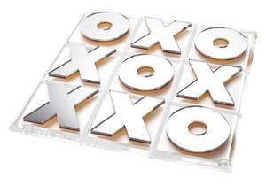 tara Wilson gold mirror X and O's acrylic tic tac toe metallic