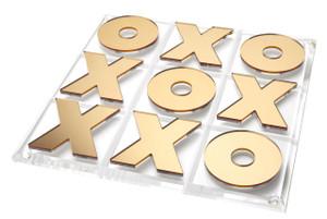 modern tabletop tic tac toe set tara Wilson gold mirror X and O's