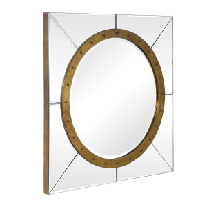 extra large square wall mirror for over fireplace bullseye gold ring decorative wall hanging mirror foyer hallway uttermost maya
