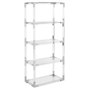 safavieh acrylic bookcase with silver chrome nickel metal corners accents tall hayley