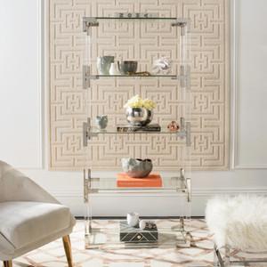 safavieh Hayley acrylic bookshelf chrome nickel silver lucite bookcase modern