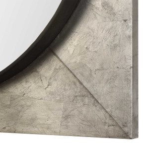 silver large square wall mirror uttermost Solomon metallic silver  bullseye silver frame