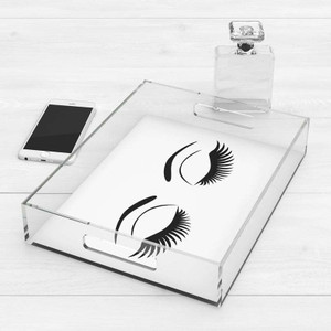 clear make up tray with eyelash print black and white