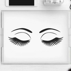 clear black and white make up tray with eyelashes