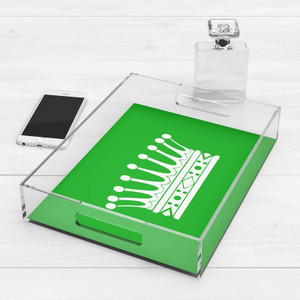 extra large acrylic tray with handles bright green kids nursery bedroom jewelry accessory tray modern