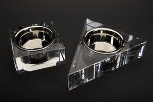 lucite dog bowl stand diamond shaped snooty pets chic sophisticated good looking pet dog cat bowl feeding stand modern