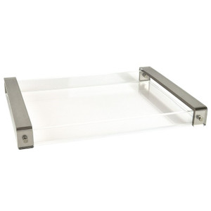 tizo HA214TY clear acrylic modern lucite serving decorative tray gold