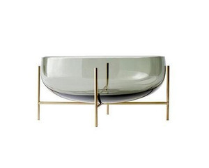 grey glass bowl for decorative centerpiece on brass gold metal stand echasse menu