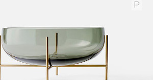 echasse grey gray glass bowl for clear decorative centerpiece on brass gold metal stand
