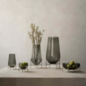 echasse vase grey glass with stand in 3 sizes modern tall blown glass