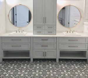 large round gold mirror bathroom powder room acrylic lucite detail trim frame clear plastic