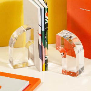 vintage acrylic bookends 70's modern style poketo arc rainbow bookends