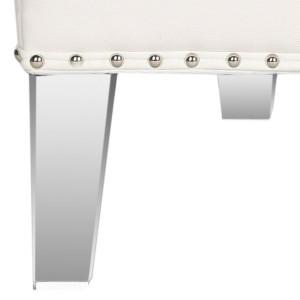 Hollywood Glam Tufted Acrylic White Club Chair W/ Silver Nail Heads clear leg