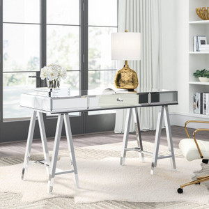 mirrored desk with sawhorse legs storage drawers large glass top silver architects easel legs