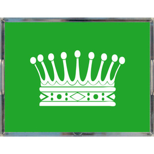 large acrylic make up jewelry decorative tray princess crown green handles lucite