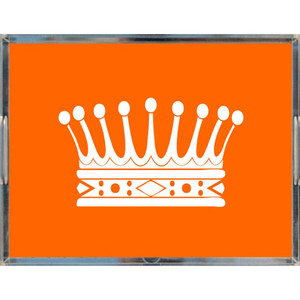 large acrylic make up jewelry decorative tray princess crown orange handles lucite