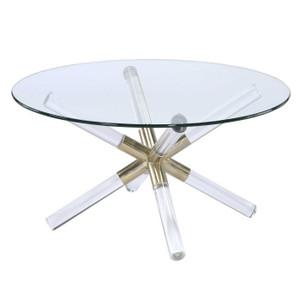 acrylic coffee table round with star shaped base acme kalani