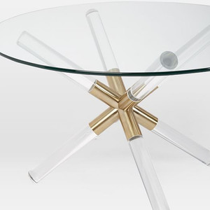 acrylic lucite star x base round glass top coffee table kalani