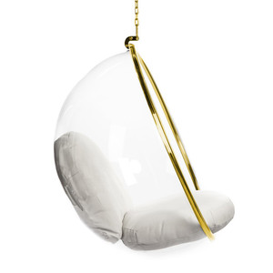 hanging bubble chair gold trim chain white cushion set lucite acrylic clear plastic balloon