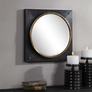 large black square mirror with gold bullseye center uttermost tobiah