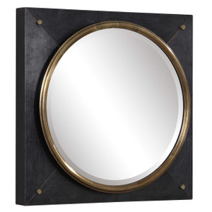 tobiah square black wall mirror industrial style gold circle uttermost