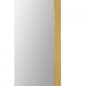 renwil marius gold leaf brass metal tall oval racetrack shape wall mirror edge frame