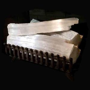 white selenite crystal quartz transluscent set of 3 fireplace logs