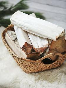 white selenite crystal quartz transluscent set of 3 fireplace logs zen