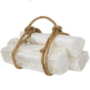white selenite crystal quartz fireplace logs set of 3