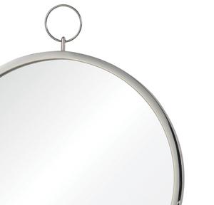 "renwil Porto Chrome 23 1/2"" x 30"" Round silver wall mirror ring top detail"