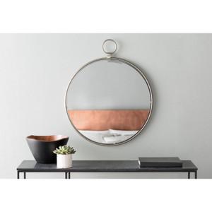 round modern silver wall mirror ring top porto chrome renwil