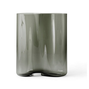 Aer Vases Smoked Glass Table Vase menu grey ripple wave pattern