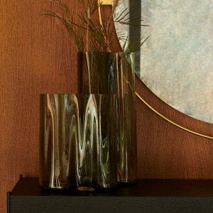 Aer Vases Smoked Glass Table Vase menu grey modern high low vessel