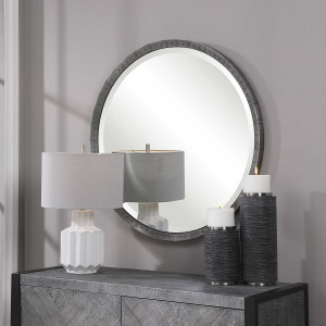 uttermost bartow steel grey industrial style rustic round wall mirror rivets