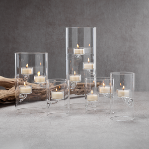 zodax Suspended Glass Tealight Holder / Hurricane - Large tall clear modern