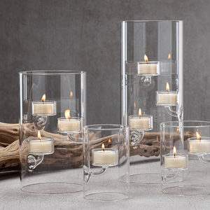 zodax Suspended Glass Tealight Holder / Hurricane floating tall clear modern